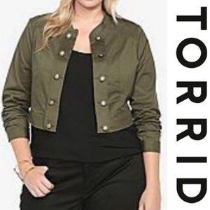 Torrid Cropped Green Military Jacket 4X